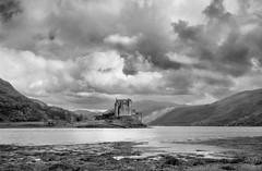 Eilean Donan Castle, Scotland (welshio) Tags: travel sky blackandwhite bw mountains castles film nature water monochrome clouds reflections landscape scotland highlands scenery waves lakes scenic landmarks peaceful panoramic scan vista romantic bleak ripples peaks sublime drama picturesque westcoast tranquil atmospheric forts zonesystem munros pictorial largeformatcamera lochalsh glens cambo dornie scottishhighlands 5x4camera lochduich eileandonancastle scottishcastles agfapan famouslandmarks scottishlandscapes scottishlochs scottishglens scottishlandmarks britishlandscapes greatbritishlandscape classicviews