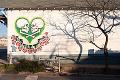 'Til Death Do Us Part (Viajante) Tags: shadow streetart tree art love wall austin skulls stencil mural texas unitedstates heart eastaustin federicoarchuleta yp2010