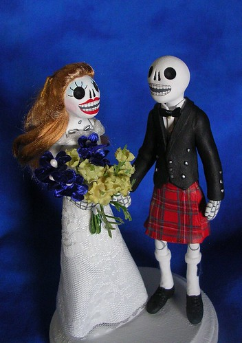 Day of the Dead Wedding Cake Topper Scottish bride and Groom by claylindo