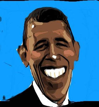 Drawing Obama with iPhone
