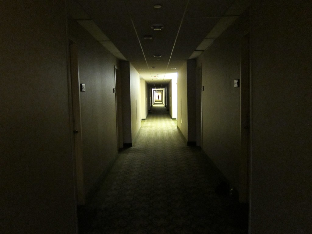 March 14, 2010 - A storm causes 50,000 businesses and homes lose power in New Brunswick. The Hyatt hotel shown here had emergency lighting that illuminated the hallways partially, with guests roaming in the dark.