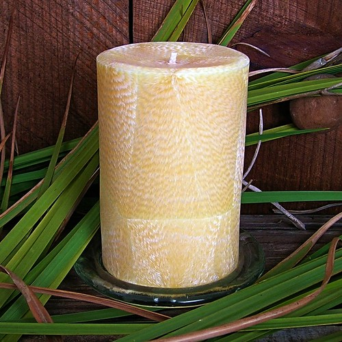 Lemongrass Essential Oil scented natural palm wax pillar candle unwrapped