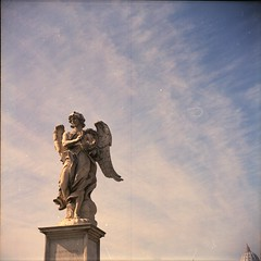 Landing on a bridge (scanavacca1986) Tags: sky italy rome color roma 6x6 film statue angel clouds mediumformat morninglight lomo italia nuvole colore cielo lubitel2 pontesangelo angelo statua expiredfilm kodak160vc pellicola pontesantangelo rullino medioformato omot pellicolascaduta cieloromano cupoladispietro cupoladisanpietro lucemattutina scanavaccaphotography alessioscanavacca scanavacca1986