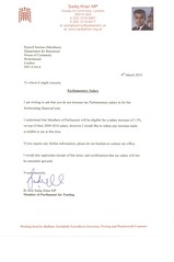 Letter to parliamentary authorities rejecting my pay rise
