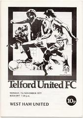 Telford United v West Ham United 1977-78 (bullfield) Tags: london shropshire wellington 1977 hammers westhamunited telfordunited buckshead franklampard johnradford alancurbishley billybonds geoffhurst trevorbrooking derekhales geoffpike alandevonshire mervynday