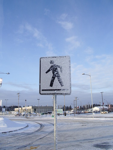 pedestrians may get snowed on