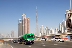TRUCKING IN DUBAI (Claude  BARUTEL) Tags: world building mercedes dubai united transport emirates khalifa arab sharjah trucking burj tallest the in