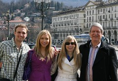 Tom, Chrissy, Deb, and Terry on a tour of Turin, Italy.