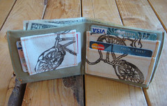 Block Printed Bicycle Wallet (ohlittlerabbit) Tags: vintage screenprint handmade unique oneofakind gifts towels handcrafted blockprint etsy coasters blockprinted handmadegifts handcraftedgifts handmademarketplace ohlittlerabbitcom jasonhibbs carahibbs