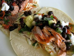 tea poached salmon tacos + fixings