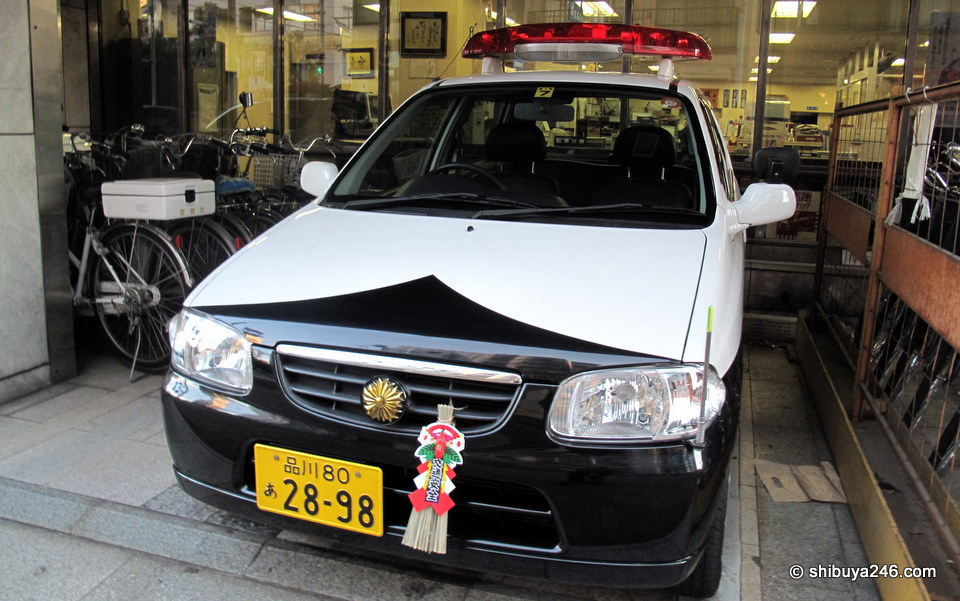Even the Police cars get dressed up at New Year.