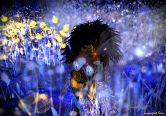 Golden night (Lunargent Karu) Tags: flowers blue light portrait woman girl yellow gold glow digitalart dream sl fairy secondlife faery fairyland goldennight virtualnature lunargentkaru
