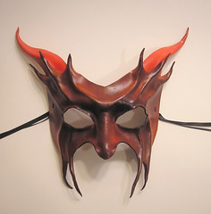 Red Devil Leather Mask by Teonova (teonova) Tags: new carnival red cats black sexy rabbit art