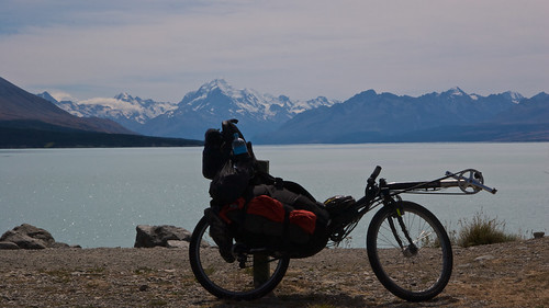 Overlooking Lake Pukaki, with Mount Cook Aoraki in the background