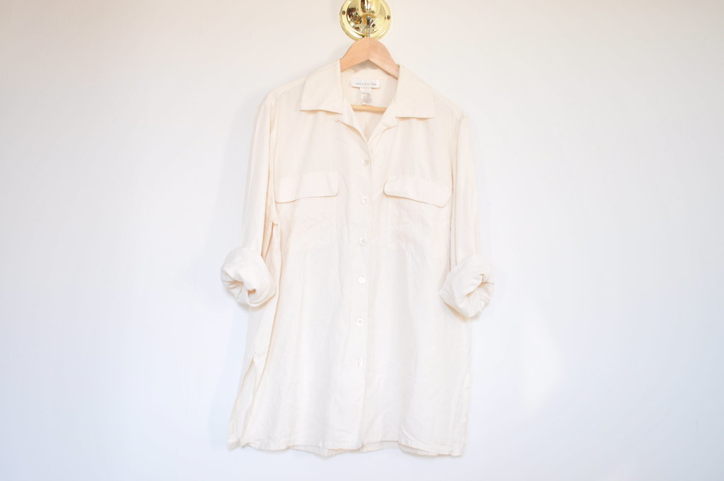 vintage two pocket cream silk shirt