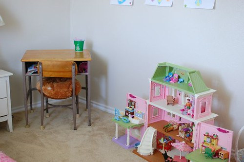 dollhouse and desk