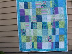 turquoise quilt (!EyeWork!) Tags: quilts madeitmyself brightcolors handmade fabric sewing stripquilt ididitmyself turquoise fencesandrails