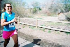 Jenny Sprinting To Finish the Horsetooth Half Marathon