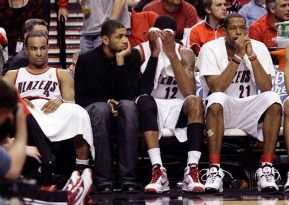 Blazers sad bench
