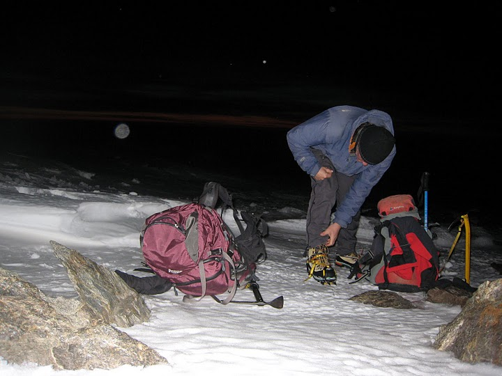 Gearing up outside the Poqueira hut, Sierra Nevada