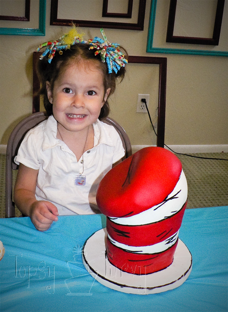 seuss brithday party birthday cake cat in the hat fondant carved topsy turvy