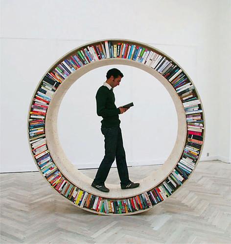 Circular Walking Bookshelf  by David Garcia