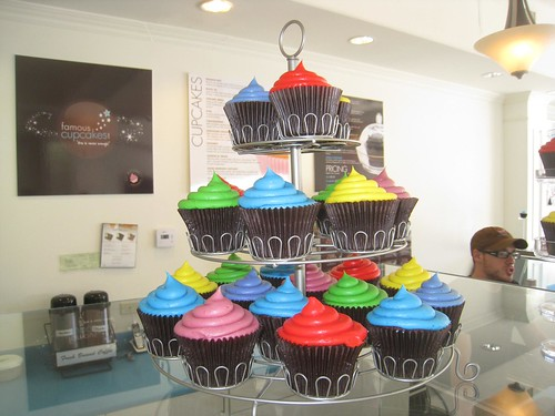 A colorful display at Famous Cupcakes.