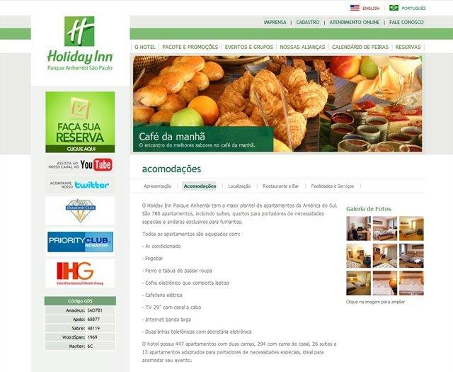 Secão de Acomodações- Site Holiday Inn Parque Anhembi