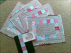 Urban Home Goods Swap Received!! (sparklygreenknickers) Tags: red aqua quilt linen patchwork placemats moleskinjournal urbanhomegoodsswap