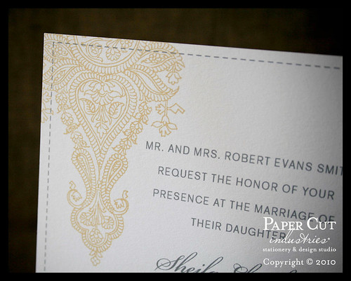 Henna Paisley Wedding Invitations in yellow and grey