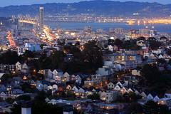 San Francisco Heights (A Sutanto) Tags: sf sanfrancisco california ca city longexposure blue houses light usa night america bay twilight dusk hill hour baybridge residential sfbay onerincon
