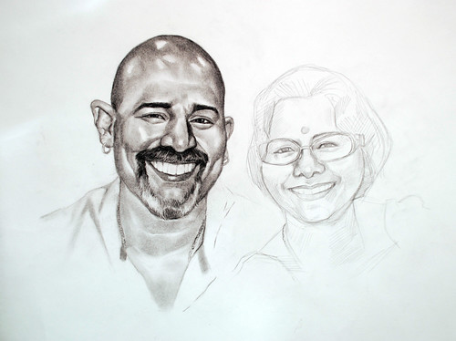 Indian couple portrait in charcoal -3