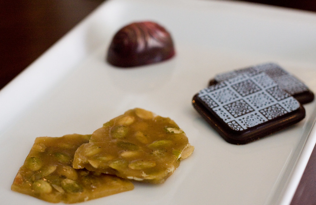 Pumpkin brittle, spiced tiles, jasmine-caramel bon bon, Cocoa V