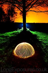 The Dome (AndWhyNot) Tags: light shadow orange lightpainting green grass silhouette night contrast painting high long exposure orb craft shade dome 556 lightcraft