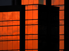 Sunset Reflected (Book'em) Tags: windows sunset urban abstract color geometric lines architecture buildings reflections nikon geometry etobicoke d200 simple