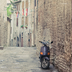 ({cindy}) Tags: street old italy italian europe european vespa purple scooter medieval 365 umbria gubbio 365days