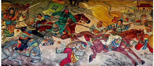 The real Mulan featured on a mural in Baoan Temple, Taipei.
