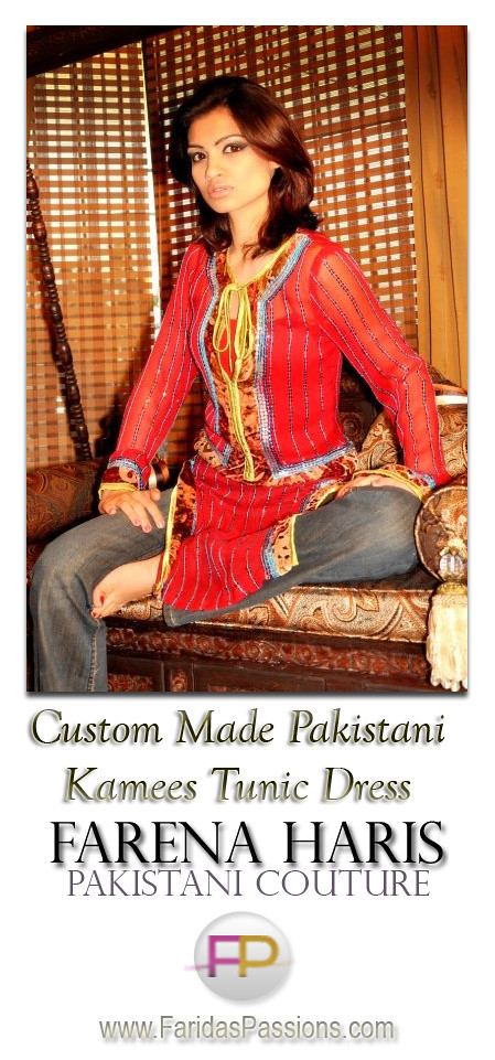 Pakistani Designer Kameez Tunic Dress. Fusion Fashion Kamees from Pakistan. Ethnic Haute Couture. Modern and Traditional Designer Fusion Apparel Now Available at FaridasPassions.com height=961