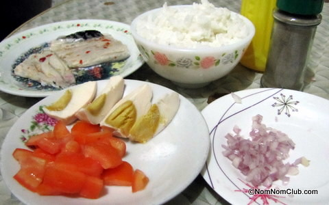 Bangus Rice with Salted Egg and Tomatoes Ingredients