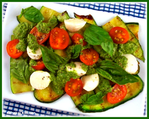 Kahakai Kitchen: Grilled Zucchini with Caprese Salad and Rocket Salsa
