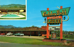 golden_buff_motor_lodge_boulder_CO (it's better than bad) Tags: pictures travel water pool architecture swimming swim vintage photography hotel colorado photos motel roadtrip retro swimmingpool photographs 1950s postcards americana 1960s oldphotographs oldpictures googie 20thcentury bathingsuit vintagepostcards