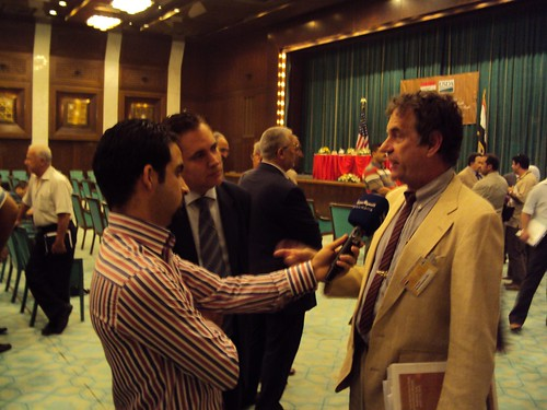 USDA Head of Delegation Dan Berman discussed the benefits of expanded agriculture trade with Iraqi TV at the June 8 kickoff for the U.S.-Iraq Agriculture Trade Mission in Baghdad.