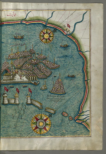 Illuminated Manuscript, Map of the eastern part of the city of Venice (Venedīk) from Book on Navigation, Walters Art Museum Ms. W.658, fol.185b by Walters Art Museum Illuminated Manuscripts