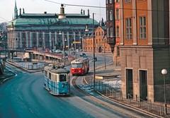 Buss och spårvagn på Munkbron 1964 by Spårvägsmuseet, on Flickr