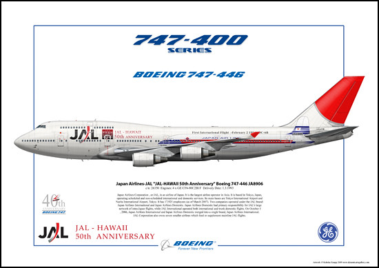 Japan Airlines-JAL JAL-HAWAII 50th Anniversary Boeing 747-446 JA8906