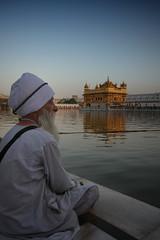 F A I T H. Amritsar (Rohit Markande) Tags: india white evening dusk holy listening meditating sikh sahib punjab amritsar goldentemple sardaar harmandir fadinglight sarovar harimandir gurbaani kirpaan gurbani darbaar kurtapyjama