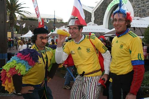 Mundial Sudáfrica hinchas freak gallina olla disfraz