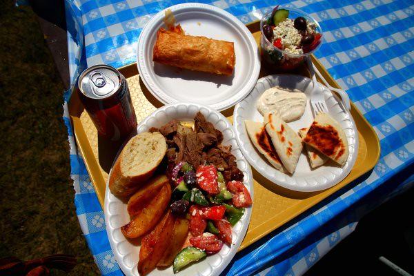 greek festival food tray