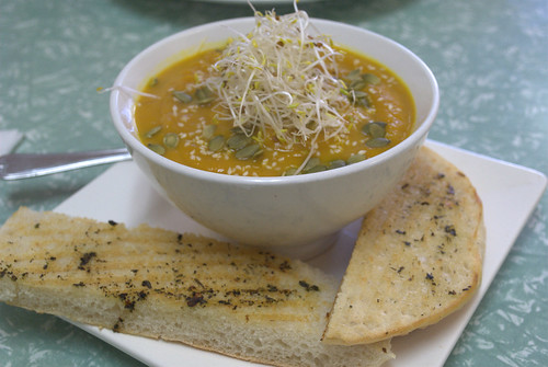 Pumpkin & Sweet Potato Soup at Bliss Organic Cafe
