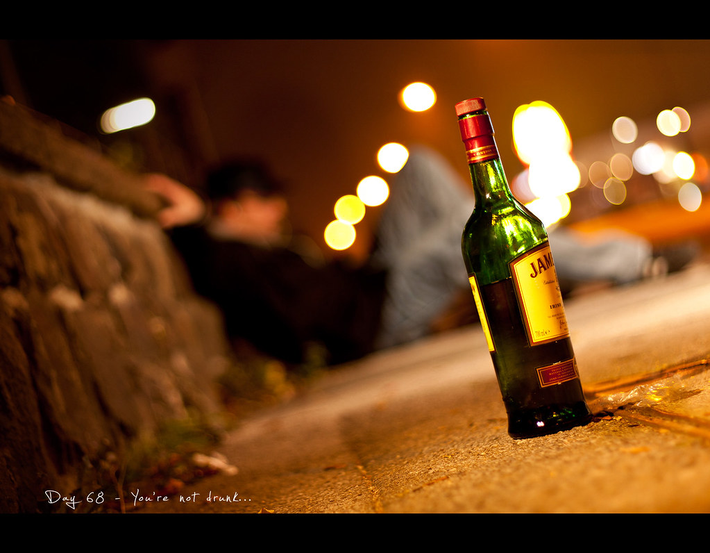 Day 68, project365, Project 365, 068/365, ourdailychallenge, booze, whiskey, Whisky, bokeh, Self Portrait, street, drunk, floor, CTO, warm, Dean Martin, floor, holding on, strobist
